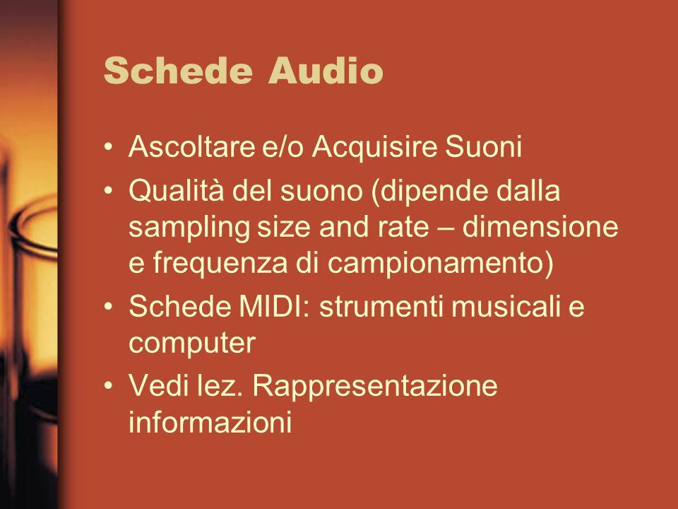 DVD Rispetto al CD –Tecnologia più recente del CD –maggiore capacità –maggiore velocità Audio: adatto alla registrazione di musica; otto canali audio ad alta fedeltà e 32 canali per sottotitoli Movie: sviluppato per applicazioni TV in sostituzione delle videocassette; capacità di uno o due film con durata fino a 133 minuti ROM: sviluppato per la memorizzazione dei dati in sostituzione degli attuali CD-ROM; capacità variabile tra 4,7 e 8,5 Gb Erasable: dischi riscrivibili per applicazioni audio ed informatiche