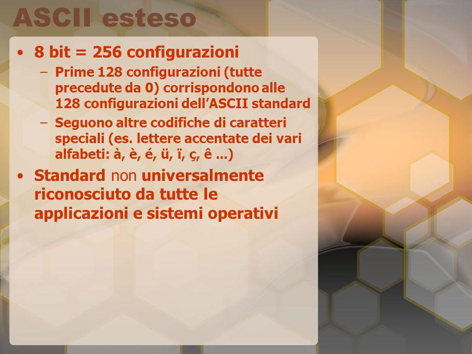 ASCII esteso 8 bit = 256 configurazioni –Prime 128 configurazioni (tutte precedute da 0) corrispondono alle 128 configurazioni dellASCII standard –Seg