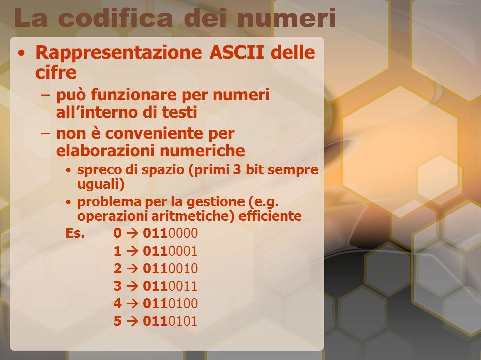 La codifica dei numeri Rappresentazione ASCII delle cifre –può funzionare per numeri allinterno di testi –non è conveniente per elaborazioni numeriche
