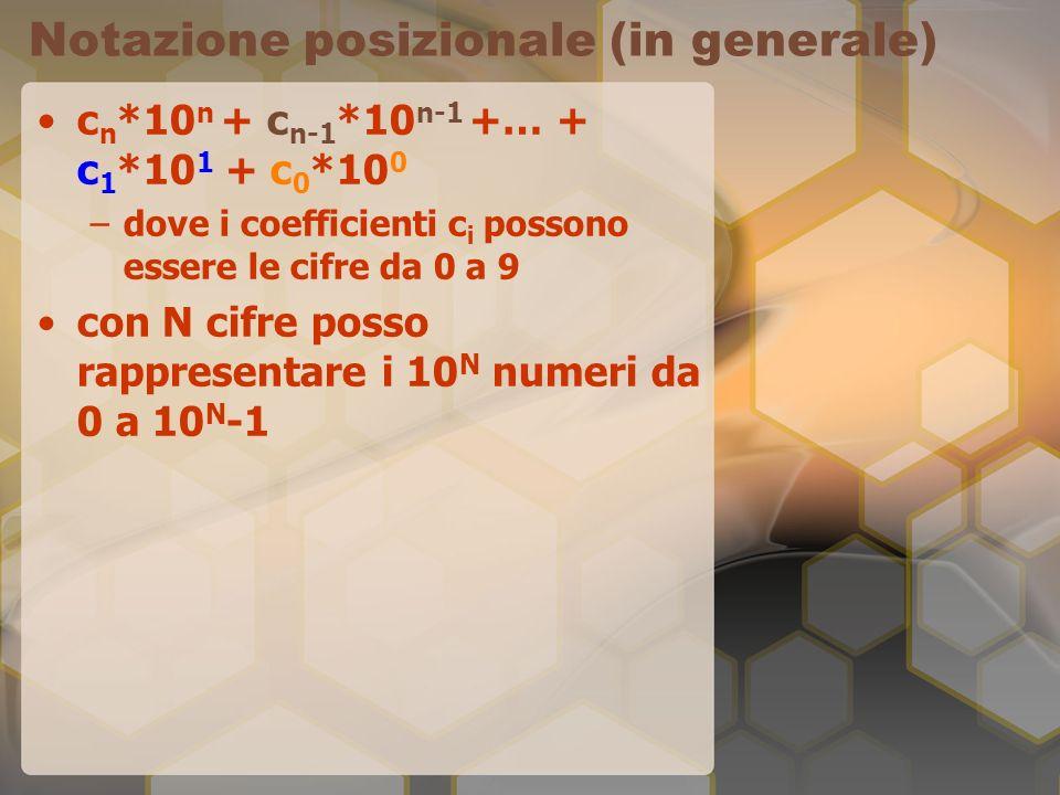 Notazione posizionale (in generale) c n *10 n + c n-1 *10 n-1 +… + c 1 *10 1 + c 0 *10 0 –dove i coefficienti c i possono essere le cifre da 0 a 9 con