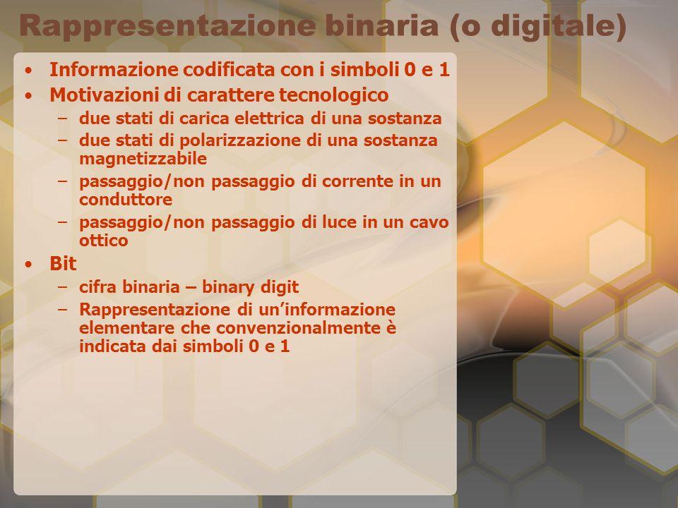 Rappresentazione binaria (o digitale) Informazione codificata con i simboli 0 e 1 Motivazioni di carattere tecnologico –due stati di carica elettrica