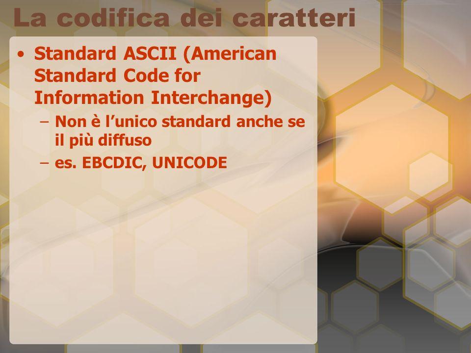 La codifica dei caratteri Standard ASCII (American Standard Code for Information Interchange) –Non è lunico standard anche se il più diffuso –es. EBCD