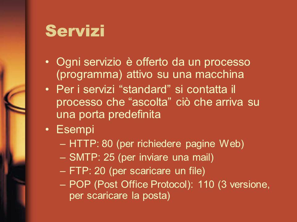 Servizi Ogni servizio è offerto da un processo (programma) attivo su una macchina Per i servizi standard si contatta il processo che ascolta ciò che arriva su una porta predefinita Esempi –HTTP: 80 (per richiedere pagine Web) –SMTP: 25 (per inviare una mail) –FTP: 20 (per scaricare un file) –POP (Post Office Protocol): 110 (3 versione, per scaricare la posta)