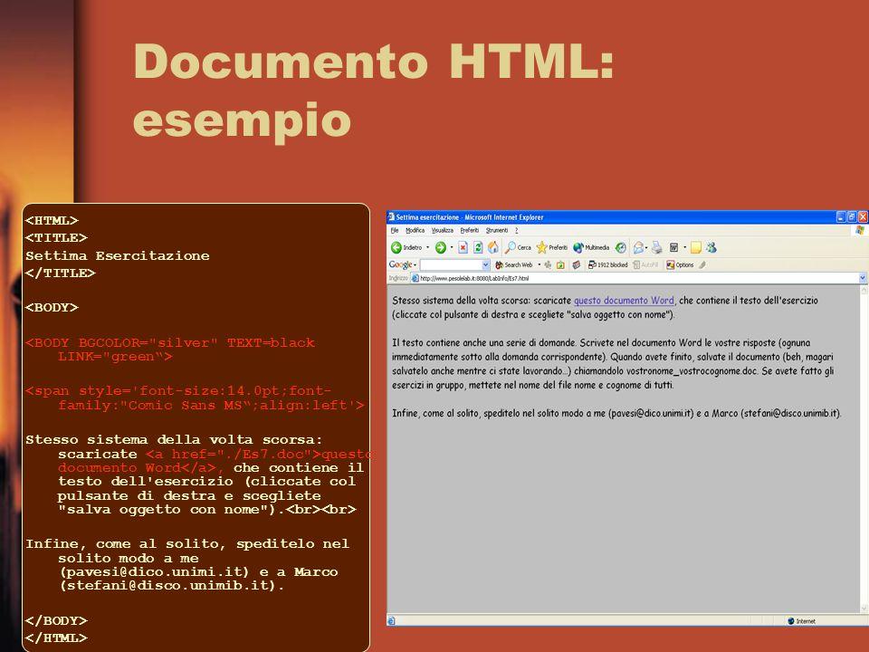Documento HTML: esempio Settima Esercitazione Stesso sistema della volta scorsa: scaricate questo documento Word, che contiene il testo dell esercizio (cliccate col pulsante di destra e scegliete salva oggetto con nome ).