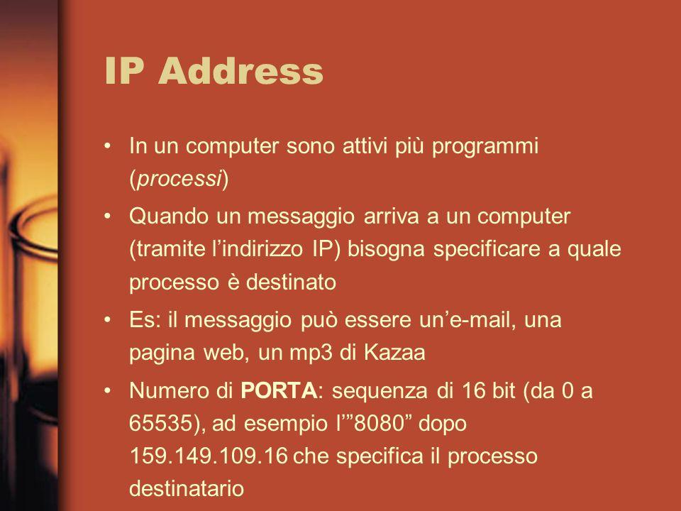IP Address In un computer sono attivi più programmi (processi) Quando un messaggio arriva a un computer (tramite lindirizzo IP) bisogna specificare a quale processo è destinato Es: il messaggio può essere une-mail, una pagina web, un mp3 di Kazaa Numero di PORTA: sequenza di 16 bit (da 0 a 65535), ad esempio l8080 dopo 159.149.109.16 che specifica il processo destinatario