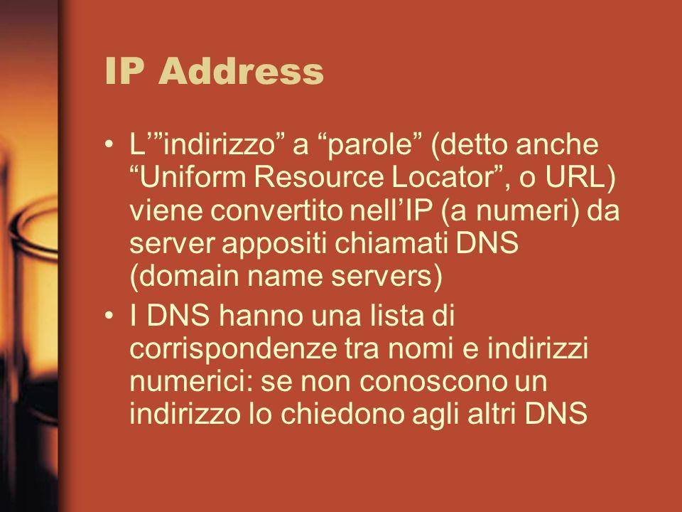 IP Address Lindirizzo a parole (detto anche Uniform Resource Locator, o URL) viene convertito nellIP (a numeri) da server appositi chiamati DNS (domain name servers) I DNS hanno una lista di corrispondenze tra nomi e indirizzi numerici: se non conoscono un indirizzo lo chiedono agli altri DNS