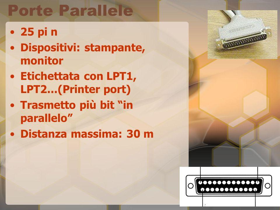 Porte Parallele 25 pi n Dispositivi: stampante, monitor Etichettata con LPT1, LPT2...(Printer port) Trasmetto più bit in parallelo Distanza massima: 3