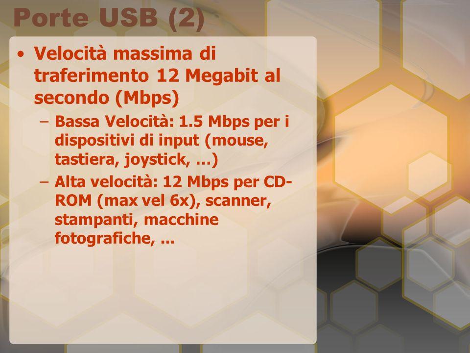 Porte USB (2) Velocità massima di traferimento 12 Megabit al secondo (Mbps) –Bassa Velocità: 1.5 Mbps per i dispositivi di input (mouse, tastiera, joy