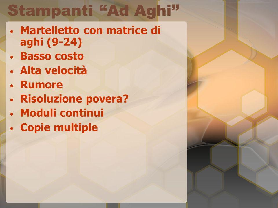 Stampanti Ad Aghi Martelletto con matrice di aghi (9-24) Basso costo Alta velocità Rumore Risoluzione povera? Moduli continui Copie multiple