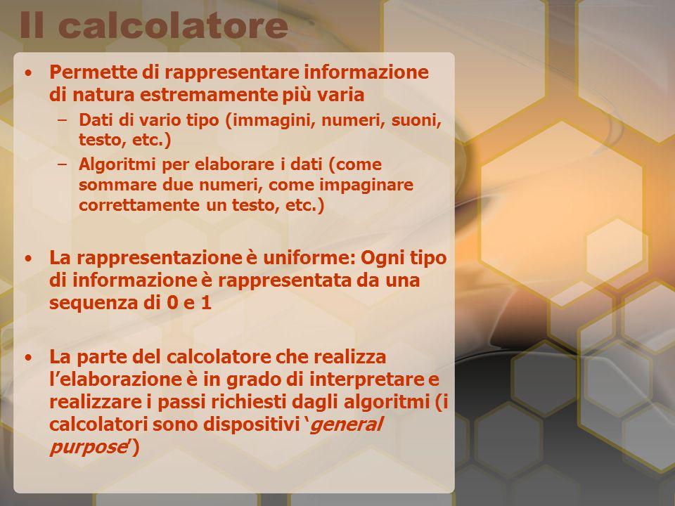 Il calcolatore Permette di rappresentare informazione di natura estremamente più varia –Dati di vario tipo (immagini, numeri, suoni, testo, etc.) –Algoritmi per elaborare i dati (come sommare due numeri, come impaginare correttamente un testo, etc.) La rappresentazione è uniforme: Ogni tipo di informazione è rappresentata da una sequenza di 0 e 1 La parte del calcolatore che realizza lelaborazione è in grado di interpretare e realizzare i passi richiesti dagli algoritmi (i calcolatori sono dispositivi general purpose)