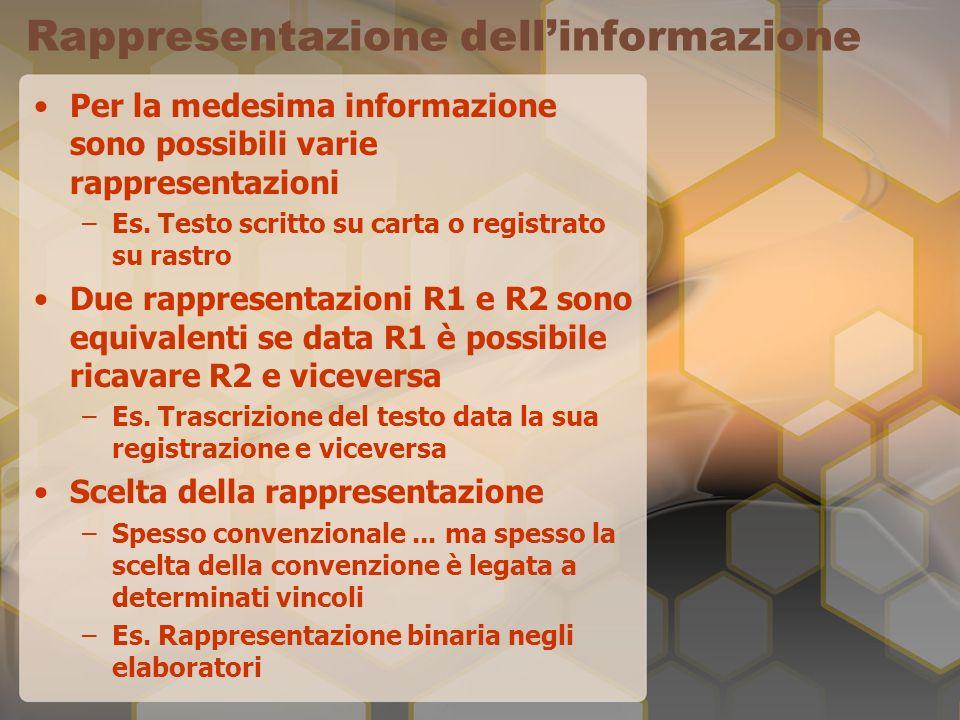 Rappresentazione dellinformazione Per la medesima informazione sono possibili varie rappresentazioni –Es.