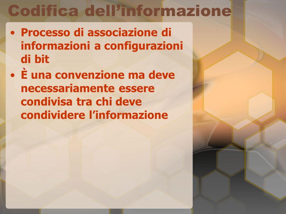 Codifica dellinformazione Processo di associazione di informazioni a configurazioni di bit È una convenzione ma deve necessariamente essere condivisa tra chi deve condividere linformazione