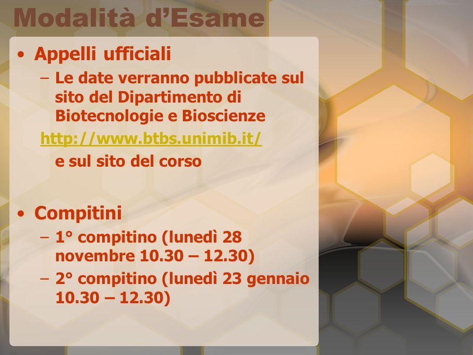 Modalità dEsame Appelli ufficiali –Le date verranno pubblicate sul sito del Dipartimento di Biotecnologie e Bioscienze http://www.btbs.unimib.it/ e sul sito del corso Compitini –1° compitino (lunedì 28 novembre 10.30 – 12.30) –2° compitino (lunedì 23 gennaio 10.30 – 12.30)