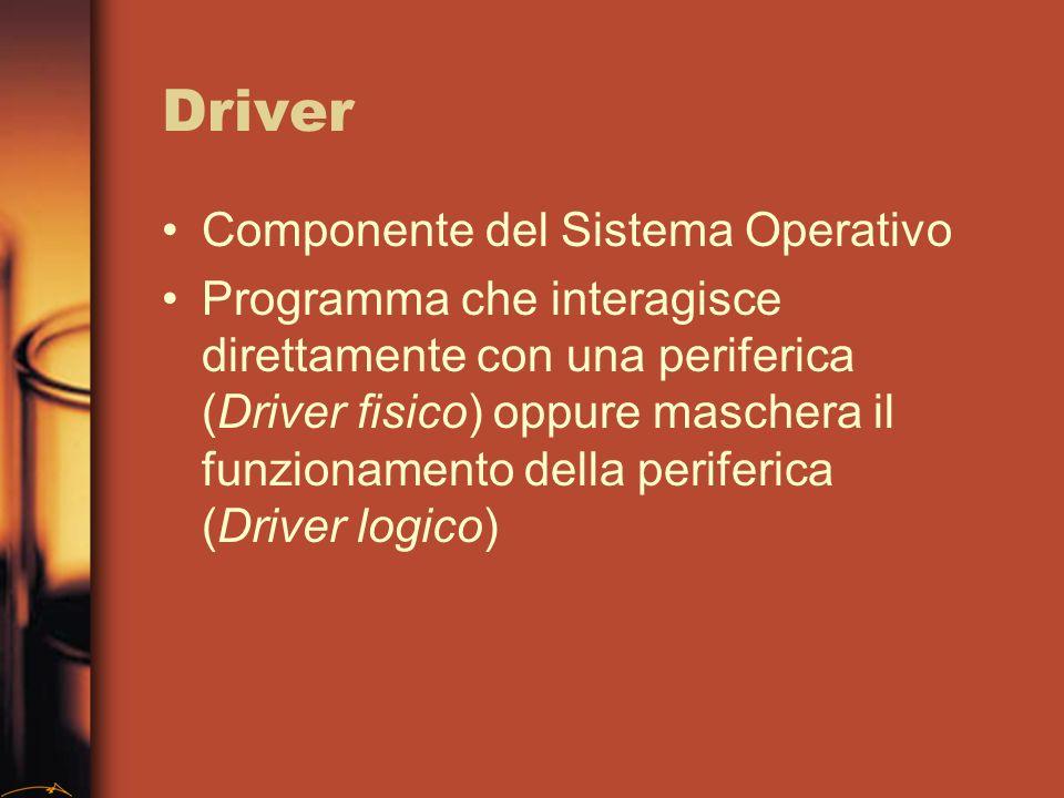 Driver Componente del Sistema Operativo Programma che interagisce direttamente con una periferica (Driver fisico) oppure maschera il funzionamento della periferica (Driver logico)