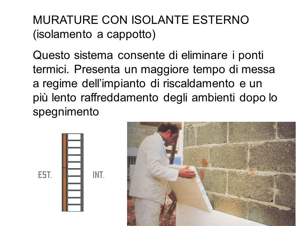 MURATURE CON ISOLANTE ESTERNO (isolamento a cappotto) Questo sistema consente di eliminare i ponti termici. Presenta un maggiore tempo di messa a regi