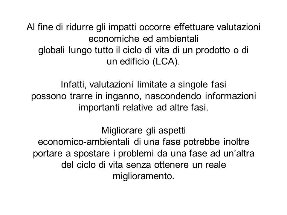 Al fine di ridurre gli impatti occorre effettuare valutazioni economiche ed ambientali globali lungo tutto il ciclo di vita di un prodotto o di un edi