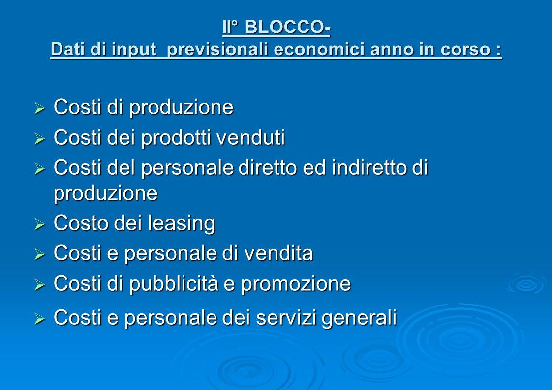 II° BLOCCO- Dati di input previsionali economici anno in corso : Costi di produzione Costi di produzione Costi dei prodotti venduti Costi dei prodotti