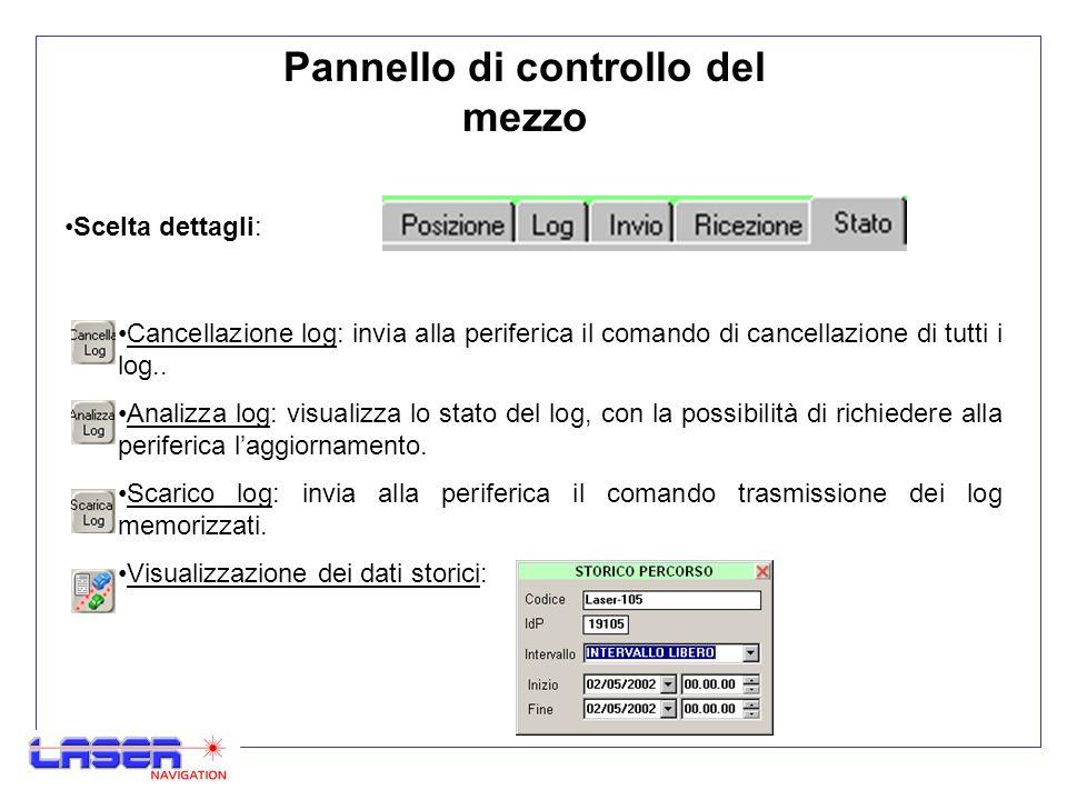 Cancellazione log: invia alla periferica il comando di cancellazione di tutti i log..