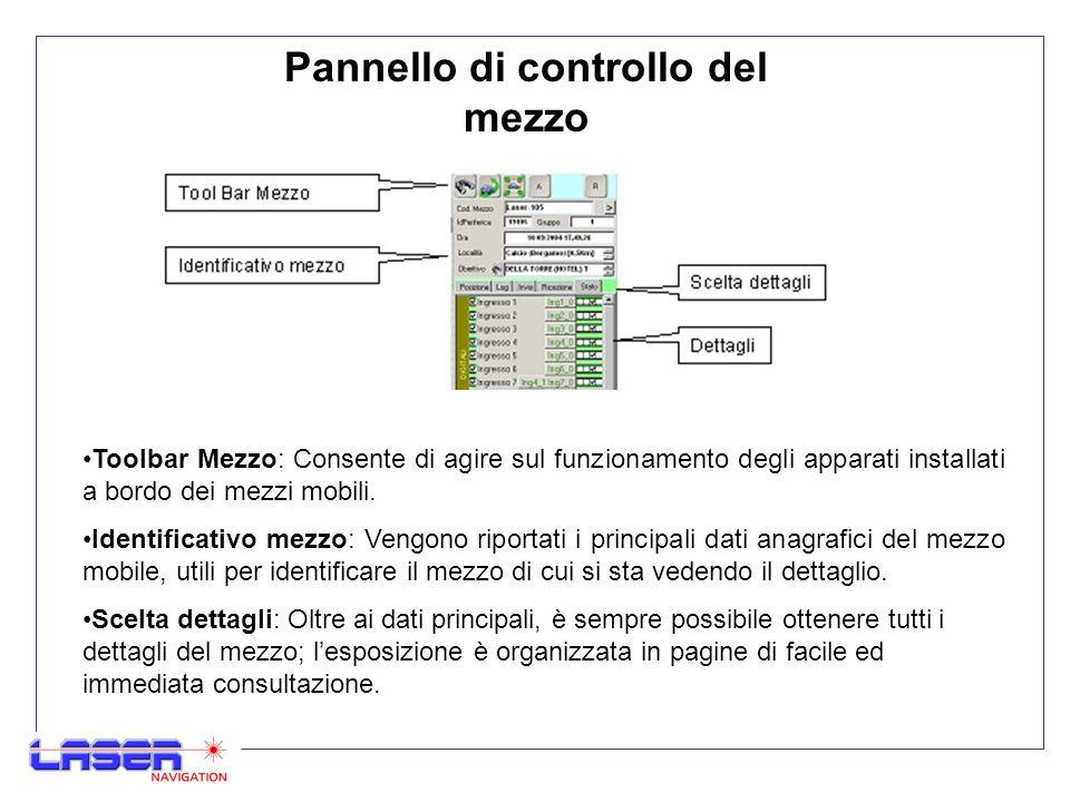 Pannello di controllo del mezzo Toolbar Mezzo: Consente di agire sul funzionamento degli apparati installati a bordo dei mezzi mobili.