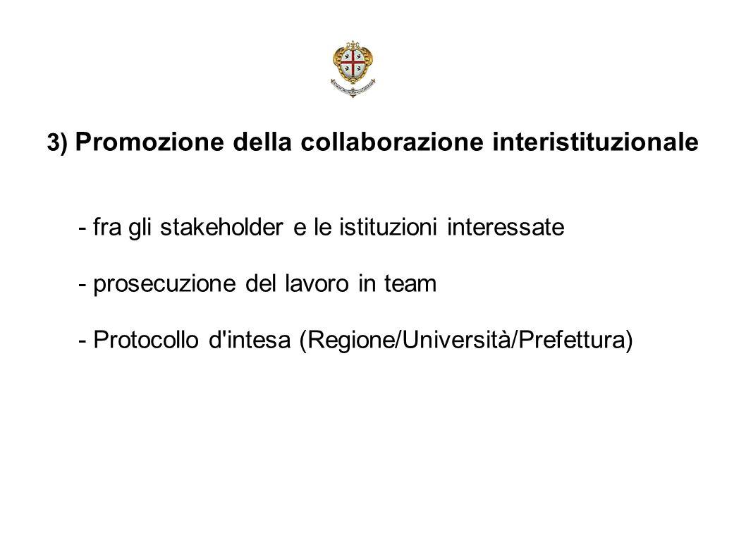 3) Promozione della collaborazione interistituzionale - fra gli stakeholder e le istituzioni interessate - prosecuzione del lavoro in team - Protocollo d intesa (Regione/Università/Prefettura)