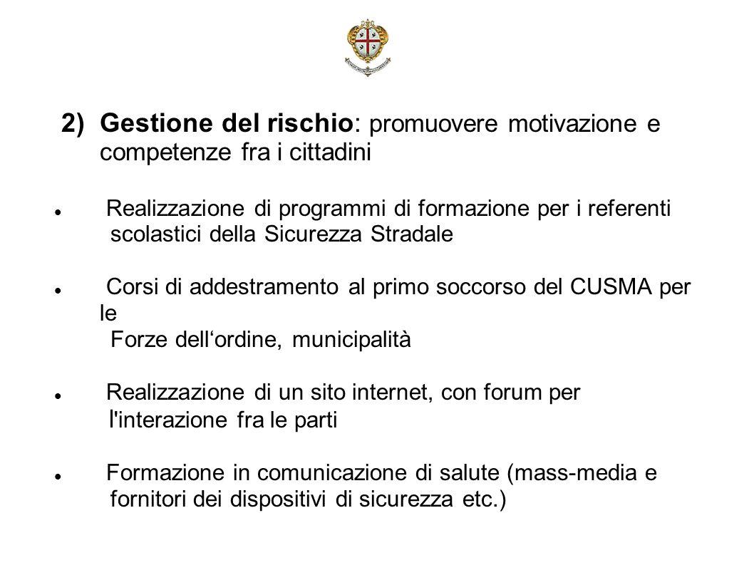 2) Gestione del rischio: promuovere motivazione e competenze fra i cittadini Realizzazione di programmi di formazione per i referenti scolastici della