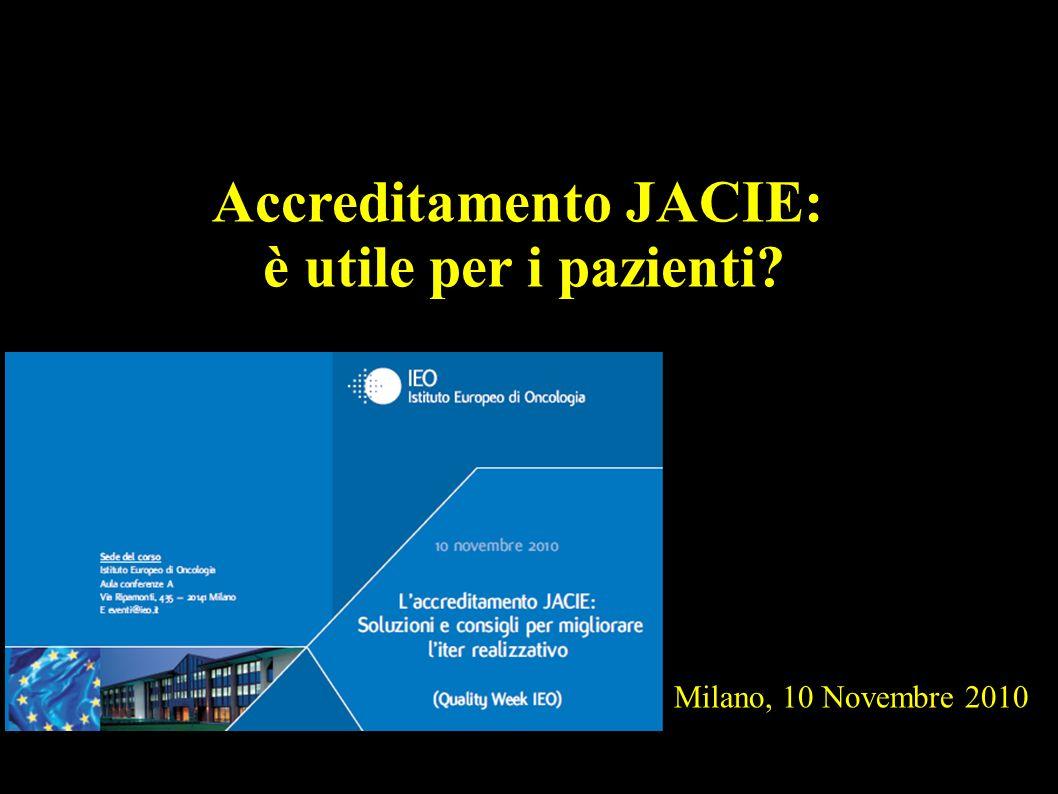 Milano, 10 Novembre 2010 Accreditamento JACIE: è utile per i pazienti?