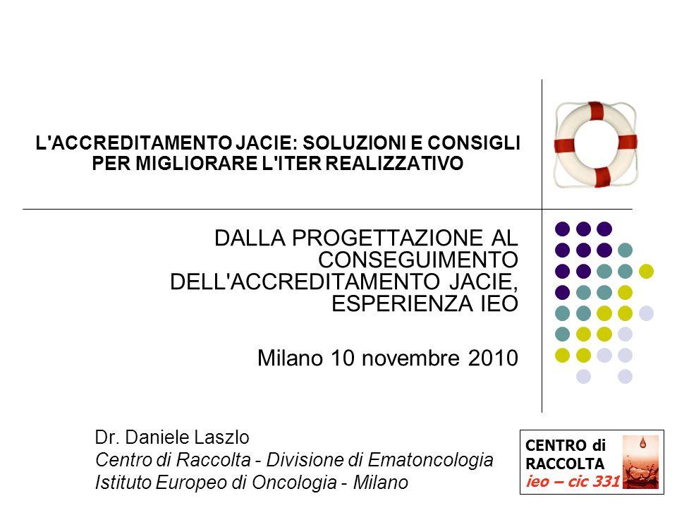 1 L ACCREDITAMENTO JACIE: SOLUZIONI E CONSIGLI PER MIGLIORARE L ITER REALIZZATIVO DALLA PROGETTAZIONE AL CONSEGUIMENTO DELL ACCREDITAMENTO JACIE, ESPERIENZA IEO Milano 10 novembre 2010 Dr.