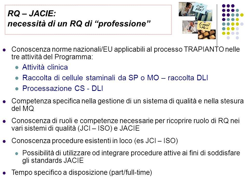 Conoscenza norme nazionali/EU applicabili al processo TRAPIANTO nelle tre attività del Programma: Attività clinica Raccolta di cellule staminali da SP o MO – raccolta DLI Processazione CS - DLI Competenza specifica nella gestione di un sistema di qualità e nella stesura del MQ Conoscenza di ruoli e competenze necessarie per ricoprire ruolo di RQ nei vari sistemi di qualità (JCI – ISO) e JACIE Conoscenza procedure esistenti in loco (es JCI – ISO) Possibilità di utilizzare od integrare procedure attive ai fini di soddisfare gli standards JACIE Tempo specifico a disposizione (part/full-time) RQ – JACIE: necessità di un RQ di professione