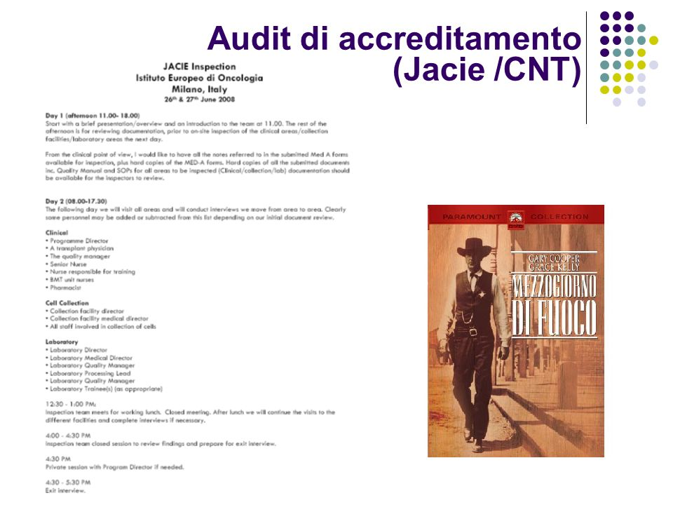Audit di accreditamento (Jacie /CNT)