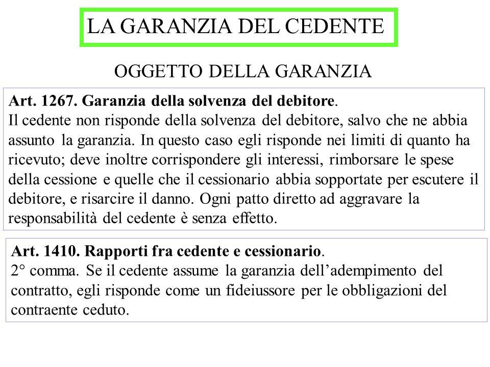 LA GARANZIA DEL CEDENTE OGGETTO DELLA GARANZIA Art. 1267. Garanzia della solvenza del debitore. Il cedente non risponde della solvenza del debitore, s
