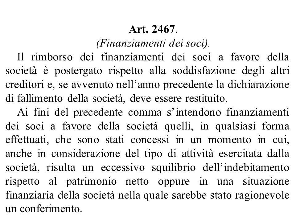 Art. 2467. (Finanziamenti dei soci).
