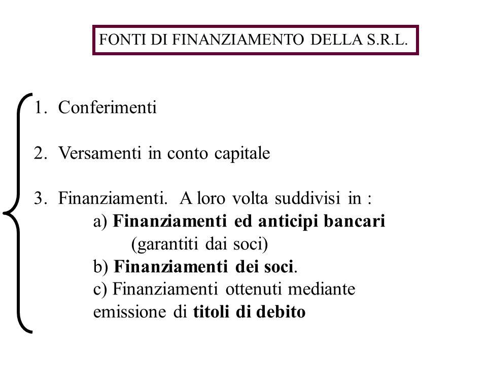 1.Conferimenti 2.Versamenti in conto capitale 3.Finanziamenti. A loro volta suddivisi in : a) Finanziamenti ed anticipi bancari (garantiti dai soci) b