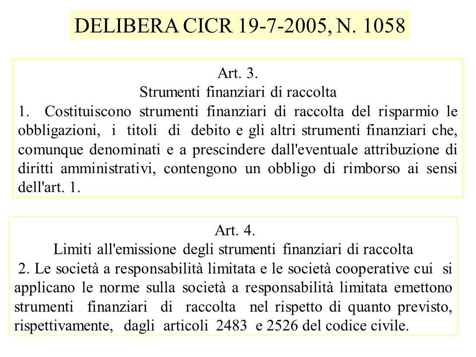 Art. 3. Strumenti finanziari di raccolta 1.