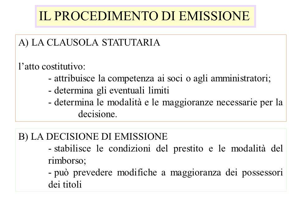 IL PROCEDIMENTO DI EMISSIONE A) LA CLAUSOLA STATUTARIA latto costitutivo: - attribuisce la competenza ai soci o agli amministratori; - determina gli e