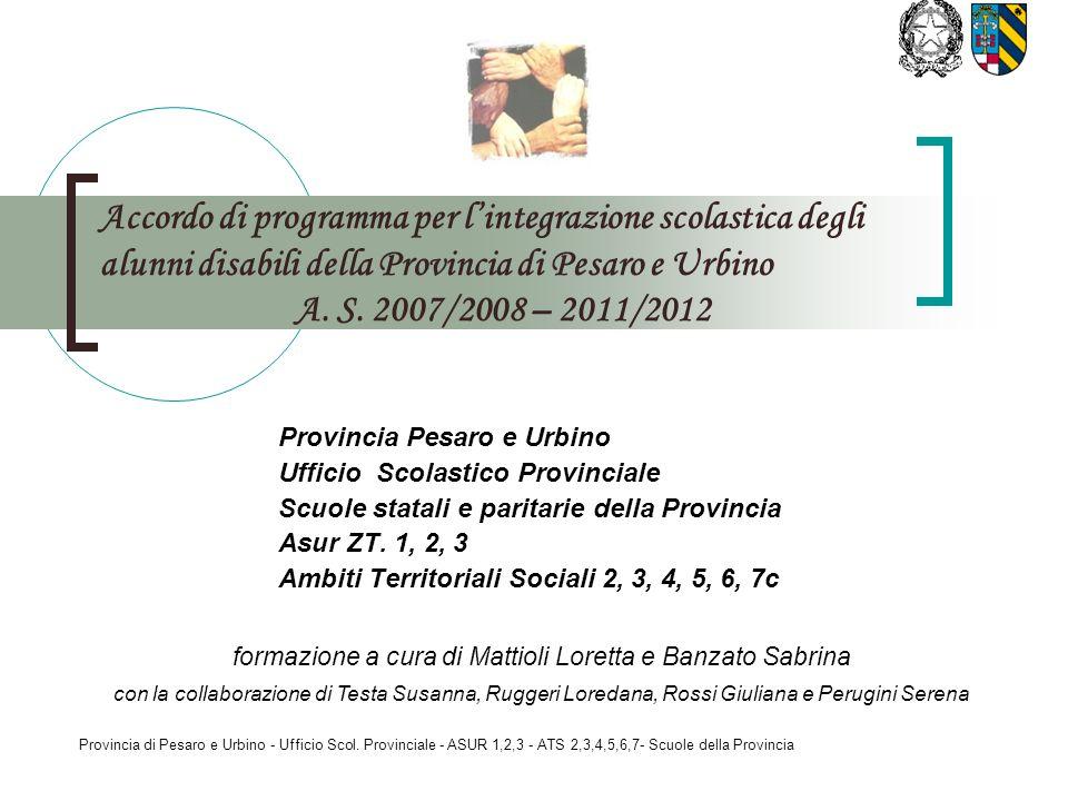 Provincia di Pesaro e Urbino - Ufficio Scol. Provinciale - ASUR 1,2,3 - ATS 2,3,4,5,6,7- Scuole della Provincia Accordo di programma per lintegrazione