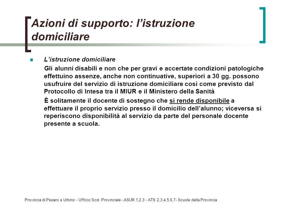 Provincia di Pesaro e Urbino - Ufficio Scol. Provinciale - ASUR 1,2,3 - ATS 2,3,4,5,6,7- Scuole della Provincia Azioni di supporto: listruzione domici