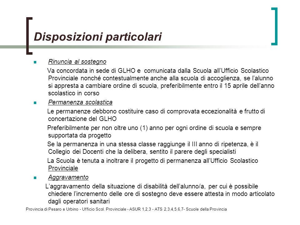 Provincia di Pesaro e Urbino - Ufficio Scol. Provinciale - ASUR 1,2,3 - ATS 2,3,4,5,6,7- Scuole della Provincia Disposizioni particolari Rinuncia al s