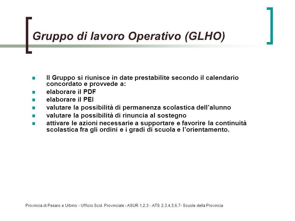 Provincia di Pesaro e Urbino - Ufficio Scol. Provinciale - ASUR 1,2,3 - ATS 2,3,4,5,6,7- Scuole della Provincia Gruppo di lavoro Operativo (GLHO) Il G