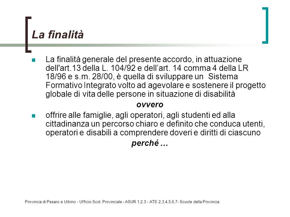 Provincia di Pesaro e Urbino - Ufficio Scol. Provinciale - ASUR 1,2,3 - ATS 2,3,4,5,6,7- Scuole della Provincia La finalità generale del presente acco