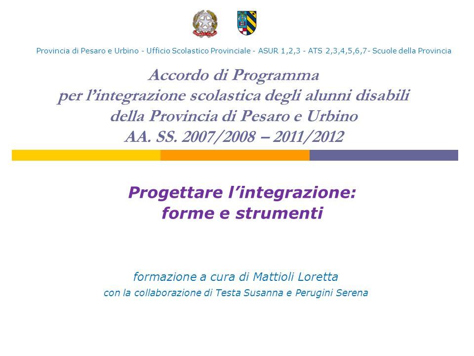 Accordo di Programma per lintegrazione scolastica degli alunni disabili della Provincia di Pesaro e Urbino AA. SS. 2007/2008 – 2011/2012 Progettare li