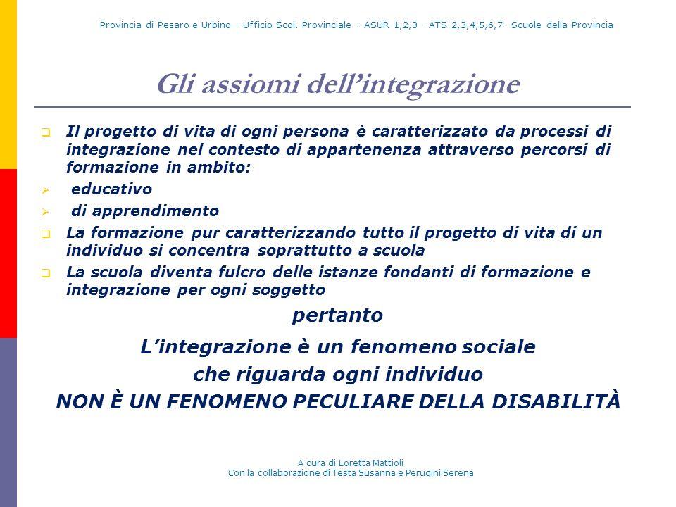 Gli assiomi dellintegrazione Il progetto di vita di ogni persona è caratterizzato da processi di integrazione nel contesto di appartenenza attraverso