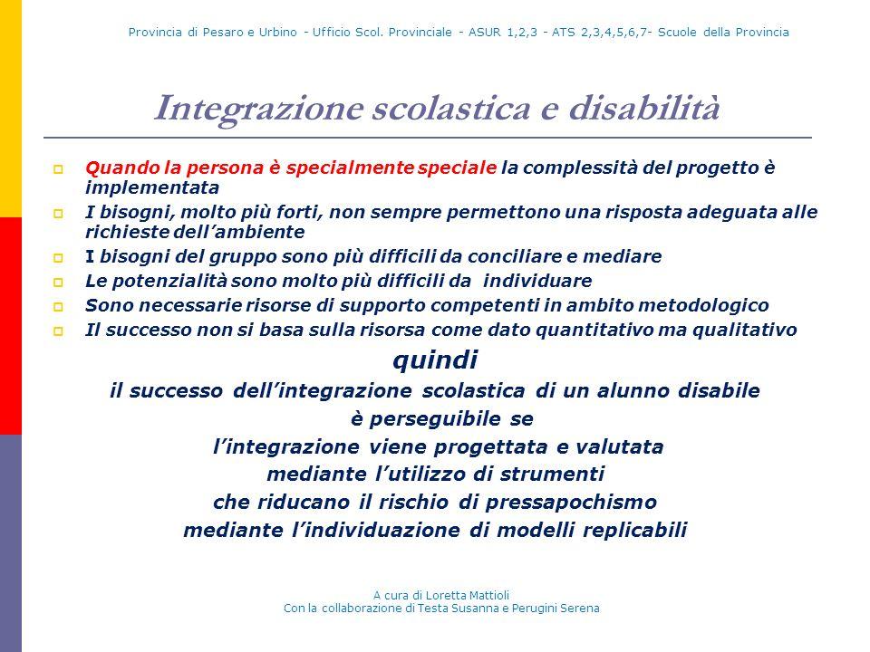 Integrazione scolastica e disabilità Quando la persona è specialmente speciale la complessità del progetto è implementata I bisogni, molto più forti,