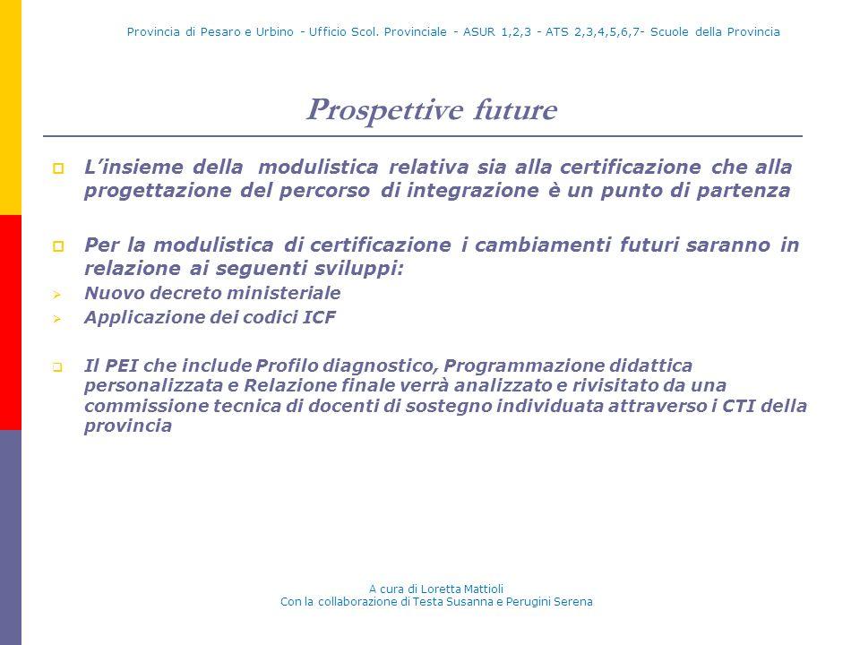 Prospettive future Linsieme della modulistica relativa sia alla certificazione che alla progettazione del percorso di integrazione è un punto di parte