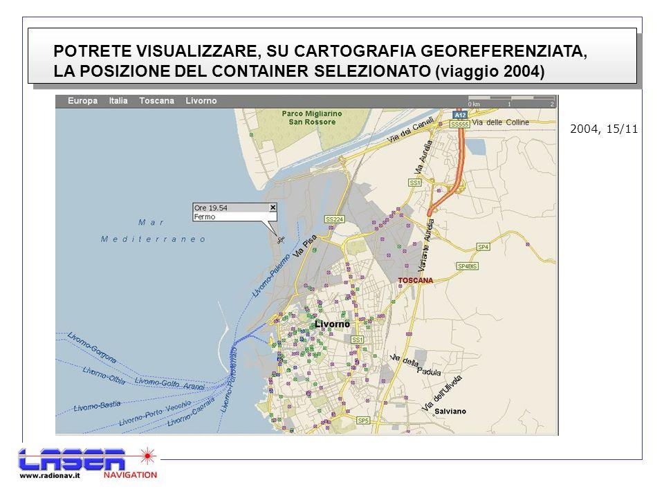 POTRETE VISUALIZZARE, SU CARTOGRAFIA GEOREFERENZIATA, LA POSIZIONE DEL CONTAINER SELEZIONATO (viaggio 2004) 2004, 15/11