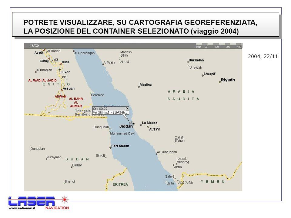 POTRETE VISUALIZZARE, SU CARTOGRAFIA GEOREFERENZIATA, LA POSIZIONE DEL CONTAINER SELEZIONATO (viaggio 2004) 2004, 22/11