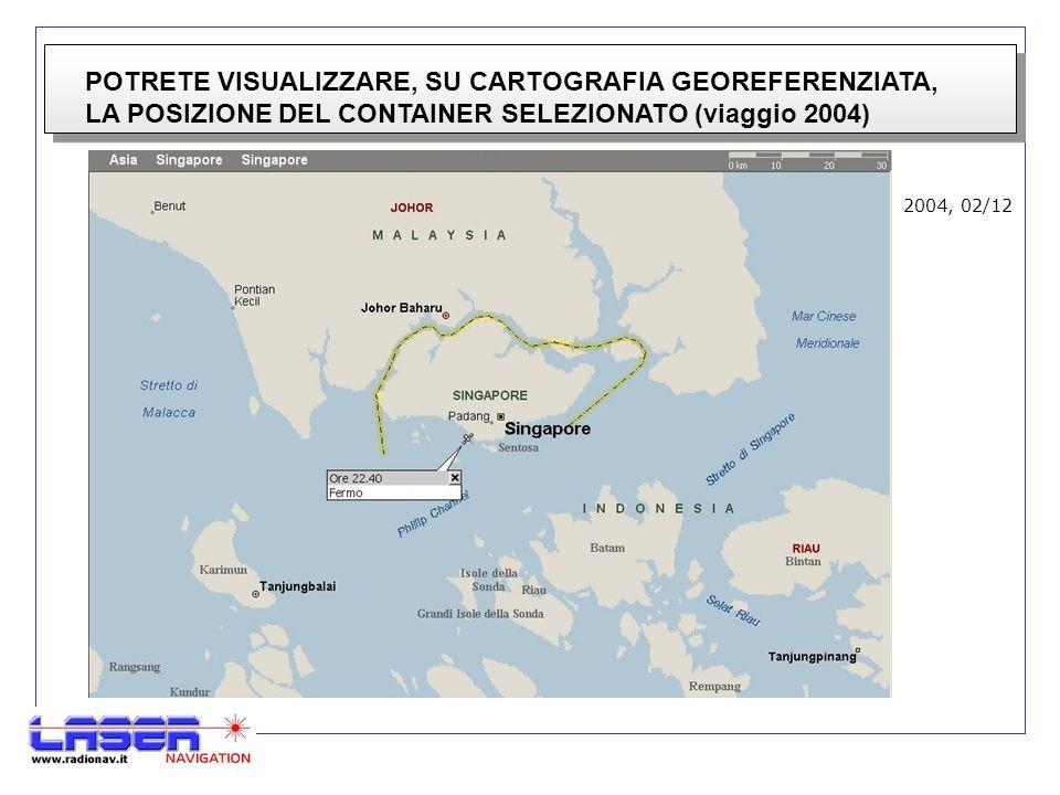 POTRETE VISUALIZZARE, SU CARTOGRAFIA GEOREFERENZIATA, LA POSIZIONE DEL CONTAINER SELEZIONATO (viaggio 2004) 2004, 02/12