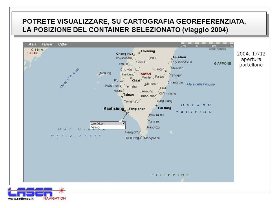 POTRETE VISUALIZZARE, SU CARTOGRAFIA GEOREFERENZIATA, LA POSIZIONE DEL CONTAINER SELEZIONATO (viaggio 2004) 2004, 17/12 apertura portellone