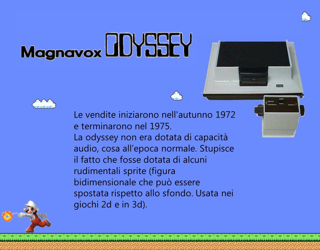 Le vendite iniziarono nell'autunno 1972 e terminarono nel 1975. La odyssey non era dotata di capacità audio, cosa allepoca normale. Stupisce il fatto