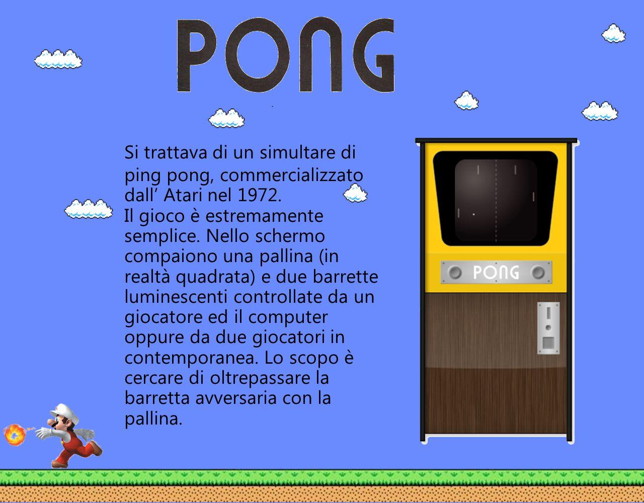 Si trattava di un simultare di ping pong, commercializzato dall Atari nel 1972. Il gioco è estremamente semplice. Nello schermo compaiono una pallina