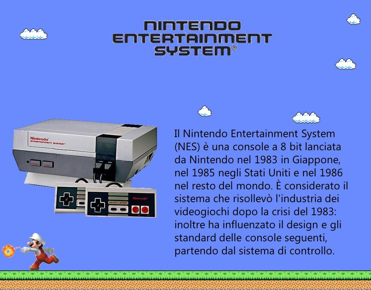Il Nintendo Entertainment System (NES) è una console a 8 bit lanciata da Nintendo nel 1983 in Giappone, nel 1985 negli Stati Uniti e nel 1986 nel rest